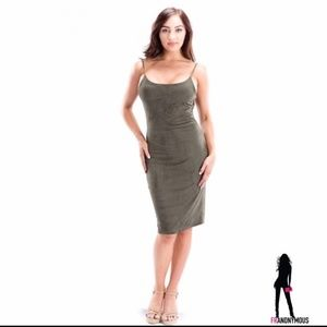 Dresses & Skirts - Olive Suede Sleeveless Bodycon Dress